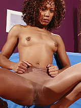 Misty Stone in pantyhose showing her beautiful cocoa body